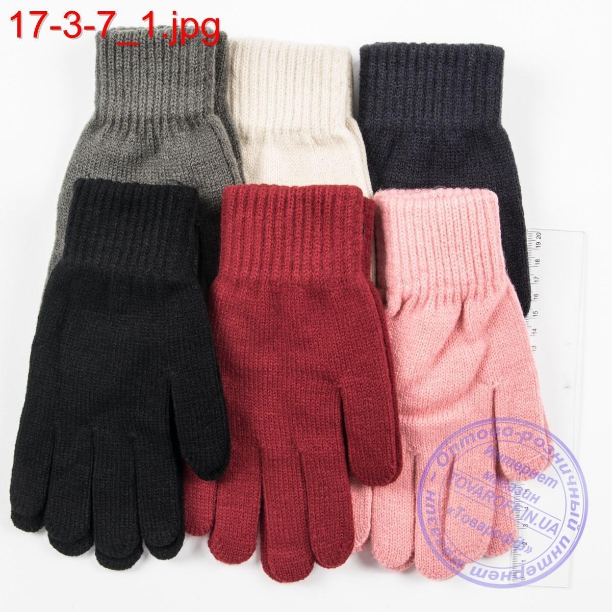 Трикотажные женские перчатки - №17-3-7