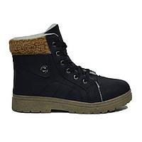Женские ботинки на толстой подошве с отворотом зимние на шнуровке эко кожа черные размеры 36, 37,38,39, 40