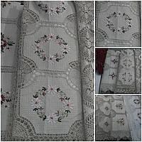 Льняная скатерть ручной работы декорирована ленточной вязкой, 140х180 см., 645/600 (цена за 1 шт. + 45 гр.)