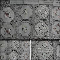 Праздничная скатерть на маленький стол, лен, ручная работа, 85х85 см., 260/210 (цена за 1 шт. + 50 гр.)