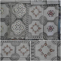 Праздничная скатерть на маленький стол, лен, ручная работа, 85х85 см., 300/250 (цена за 1 шт. + 50 гр.)