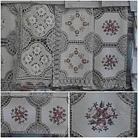 Льняная скатерть ручной работы с вышивкой, 85х85 см., 260/210 (цена за 1 шт. + 50 гр.)