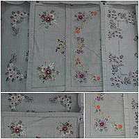 Праздничная скатерть, лен, вышивка атласными лентами, 85х85 см., 315/265 (цена за 1 шт. + 50 гр.)
