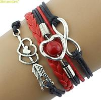 Стильный браслет Сердце красно-черное плетение