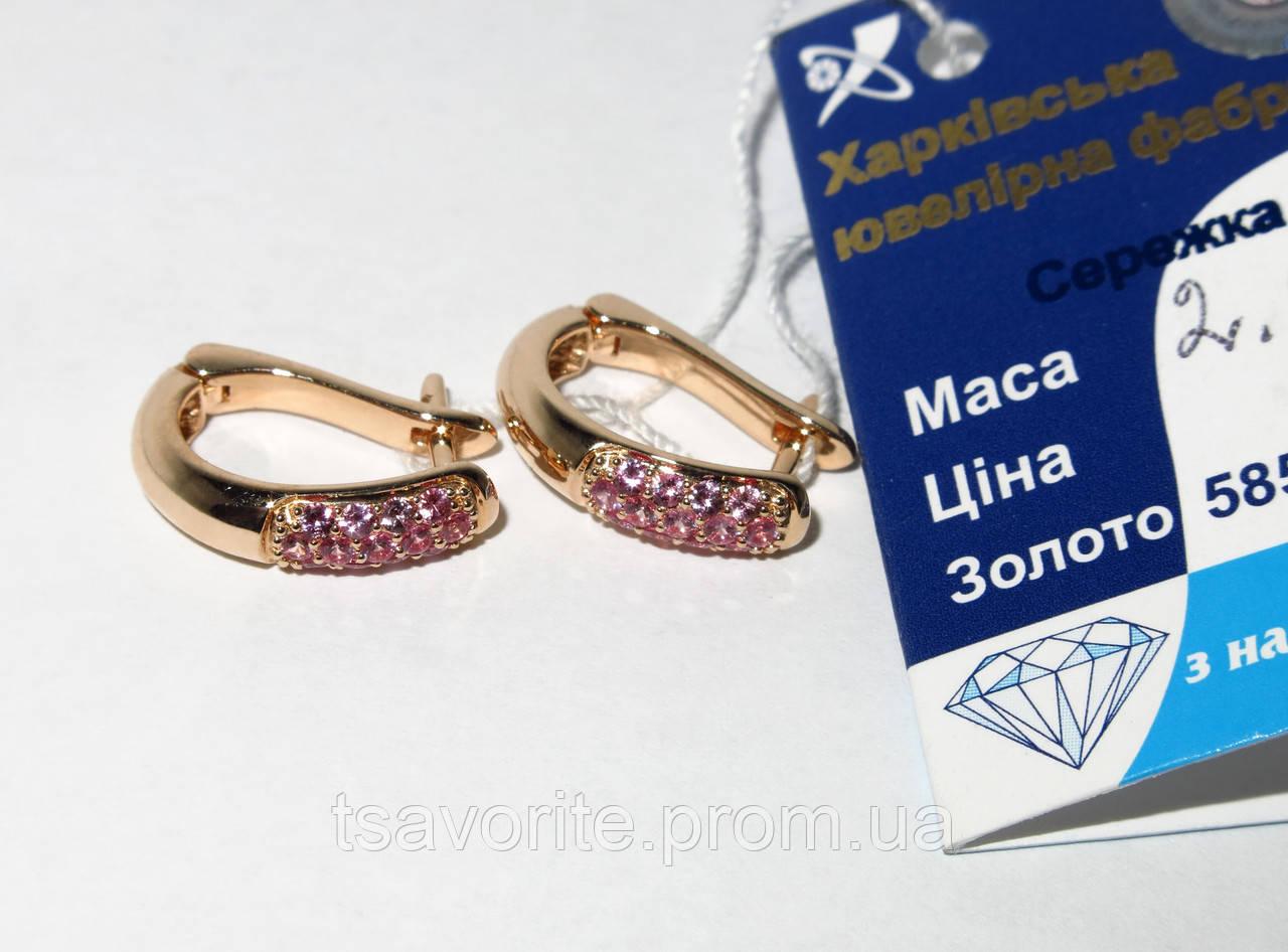 Золотые серьги с сапфирами 880216-С.сапф.р