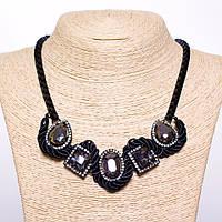 Колье на цепочке с серыми кристаллами L-50см цвет металла черный