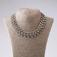 """Ожерелье """"Стальные цветы"""" с белыми кристаллами L-45см цвет металла """"серебро"""""""