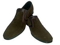 Туфли мужские натуральная замша коричневые на резинке
