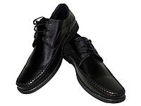 Туфли мужские натуральная кожа черные на шнуровке, фото 1