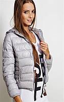 Женская короткая куртка бомбер с капюшоном стеганая, легкий пуховик, Италия