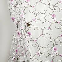 Тюль с рисунком Органза Цветок сливы (сиреневый)
