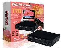 DVB-T2 тюнер (ресивер) World Vision T70M, USB, HDMI, металлический корпус, экран (7921.1)