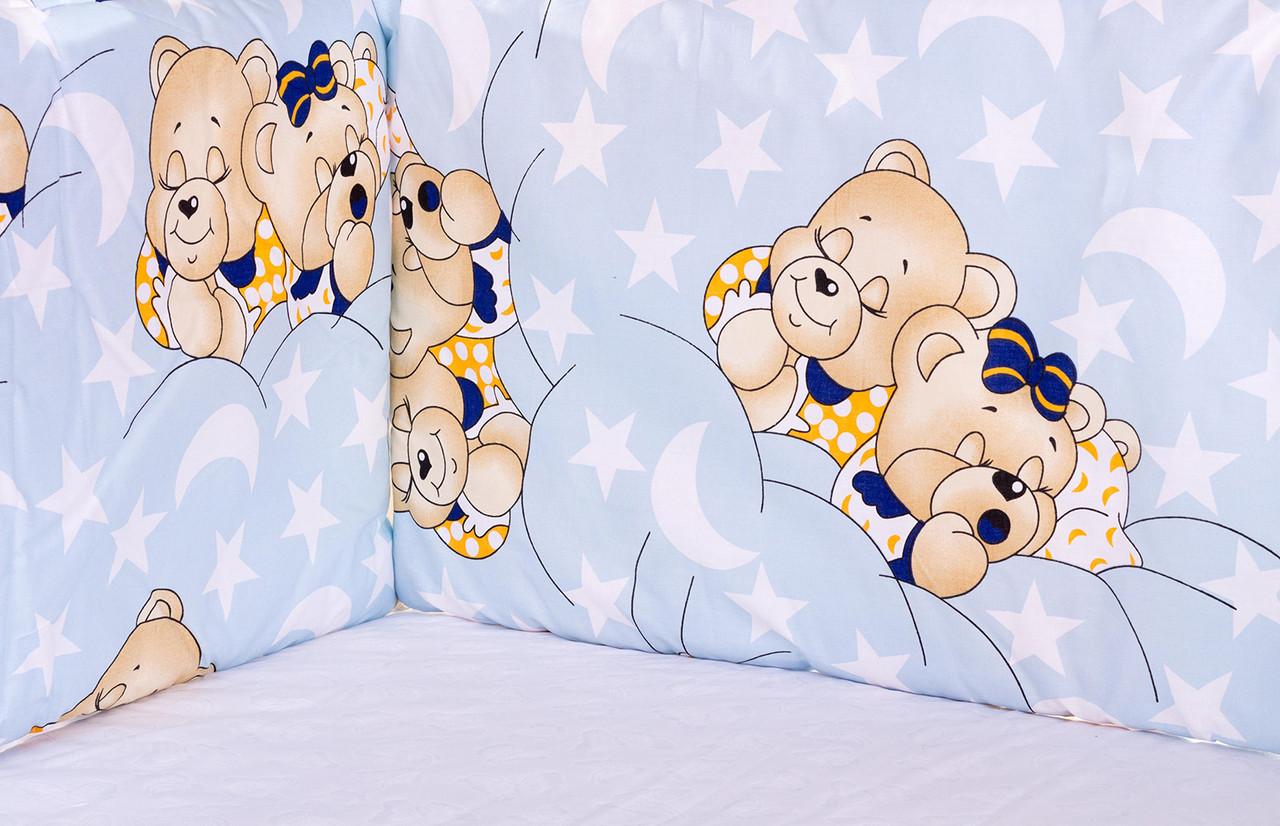 Постель Qvatro Защита на стеночки в кроватке Голубой (мишка-мальчик и мишка-девочка спят)