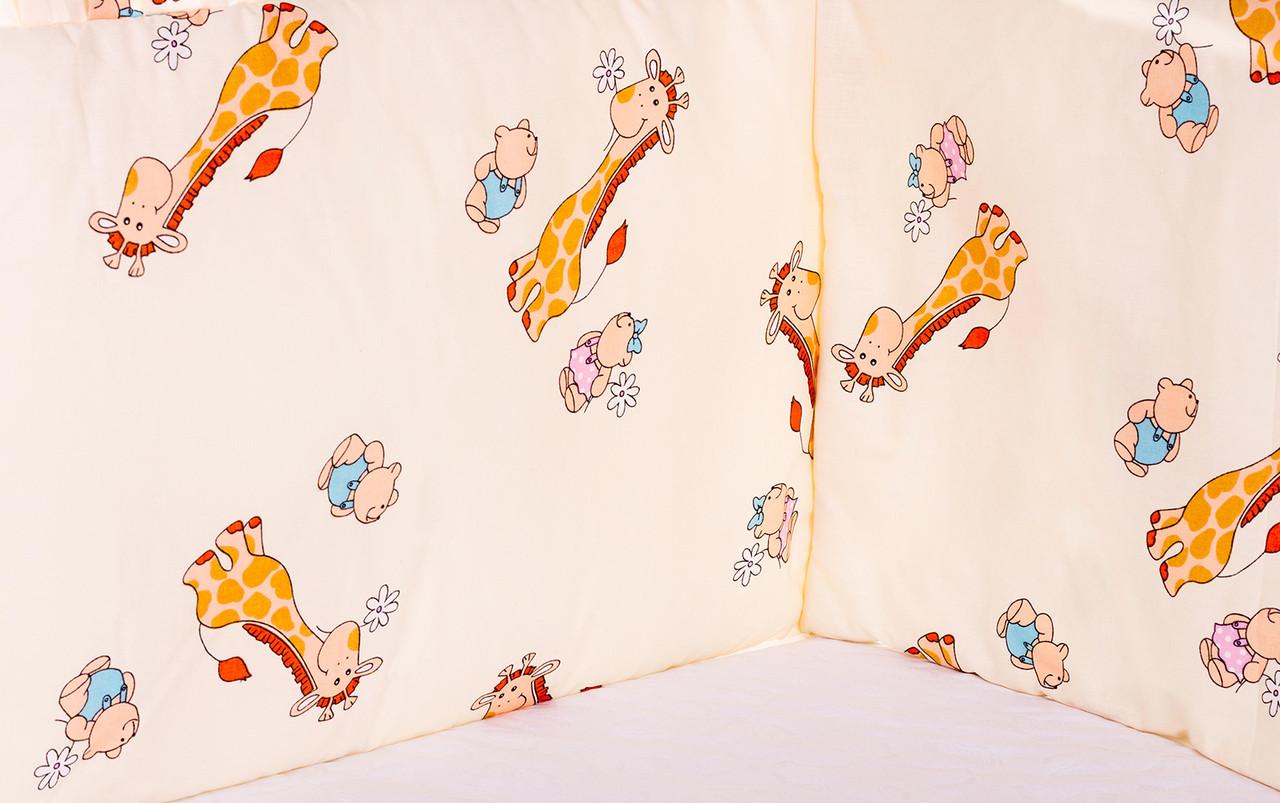 Постель Qvatro Защита на стеночки в кроватке GOLD Бежевые (жирафики)