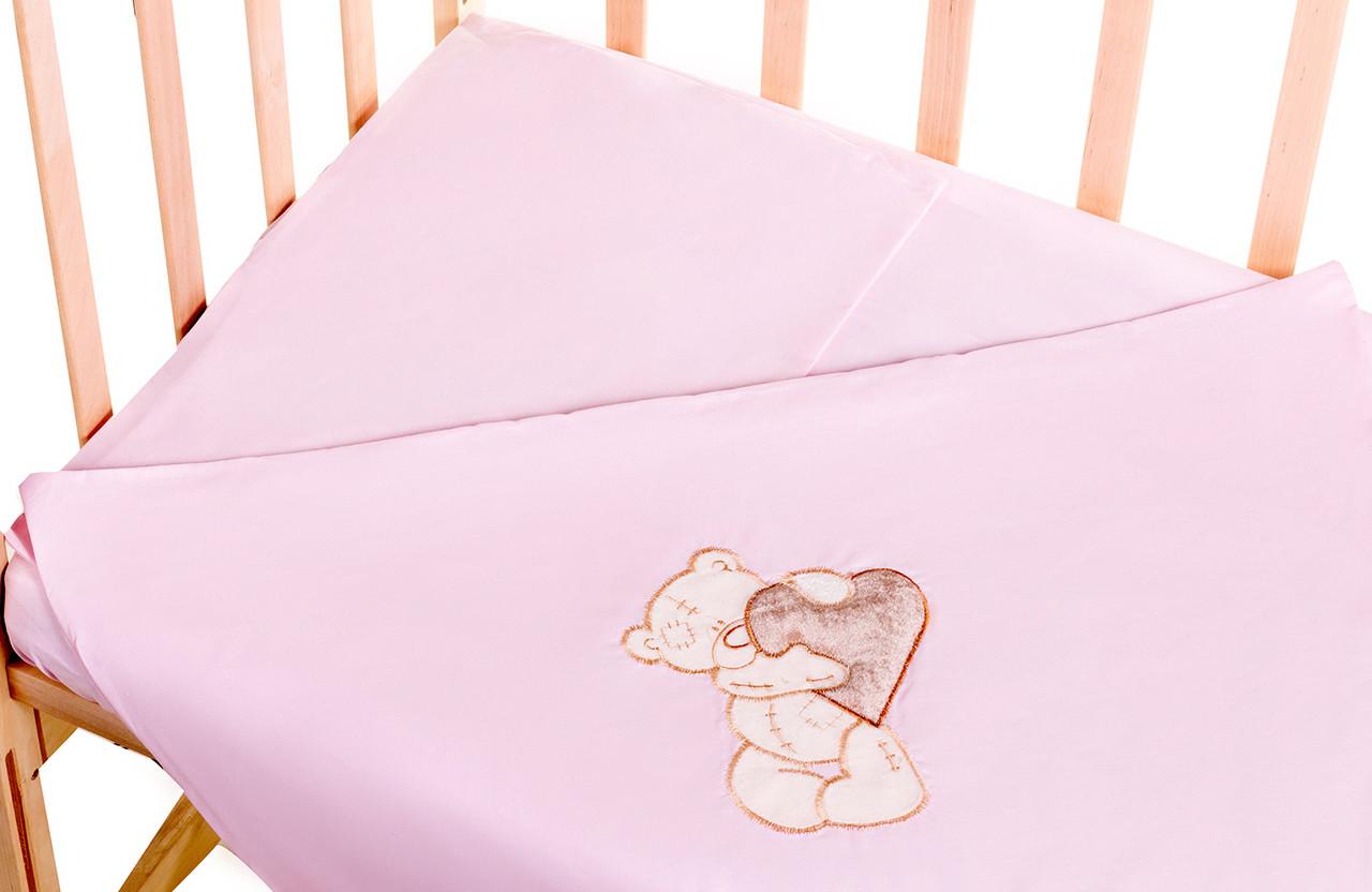 Постель Qvatro сменный комплект с аппликацией однотон.100% хлопок Розовый (мишка стоит с коричневым сердцем)