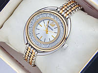 Женские кварцевые часы Swarovski стразы под стеклом, серебро-золото, фото 1