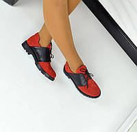 Женские стильные замшевые туфли на шнуровке цвет красный, 36-40р.