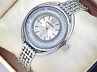 Женские кварцевые часы Swarovski стразы под стеклом, серебро, фото 1