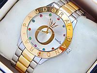 Женские кварцевые наручные часы Pandora комбинированные с разноцветными стразами, фото 1