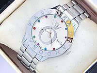 Женские кварцевые наручные часы Pandora серебряные с разноцветными стразами, фото 1