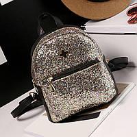Рюкзак женский с блестками (золотистый)
