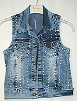 Джинсовый жилет для девочки с вышивкой 6-7-8-9-10-11 лет