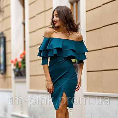 """Сукня лодочка 2 рюші 3/4 рукав """"Оксамит"""" т-зелений платье рюши"""