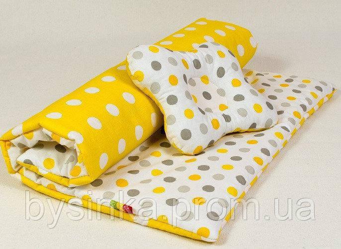 Набор в детскую коляску (зима, весна,осень) Солнышко 103 желтый одеяло 65 х 75 см подушка 22 х 26 см