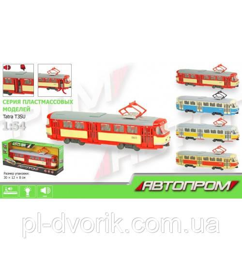 Трамвай 9708-A (24шт) 28-10-6см,1:54,Зв(Рус),Свет   ,Двери Откр,На Бат-Ке(    ,В Кор-Ке, 30,5-12,5-8с