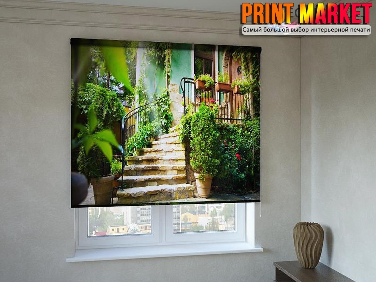 Рулонные шторы с фотопечатью лестница в дом