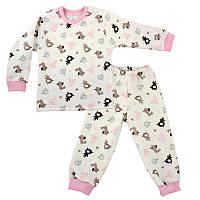 Детская пижама с манжетами на штанах, на рост - 86, 98, 104, 116 см. (арт: 3-07роз)