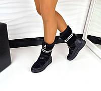 Зимние сапожки на шнуровке, Натуральный замш, + вставки натуральной кожи, Натуральный мех, цвет - ЧЁРНЫЙ