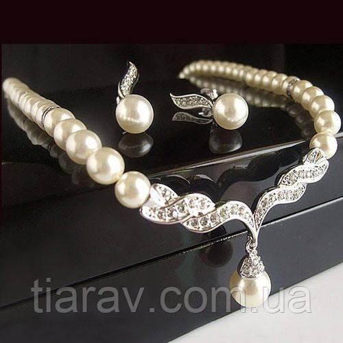 Весільна біжутерія кольє намисто і сережки прикраси