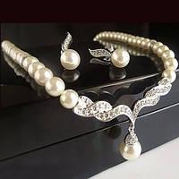 Свадебная бижутерия колье ожерелье и серьги украшения