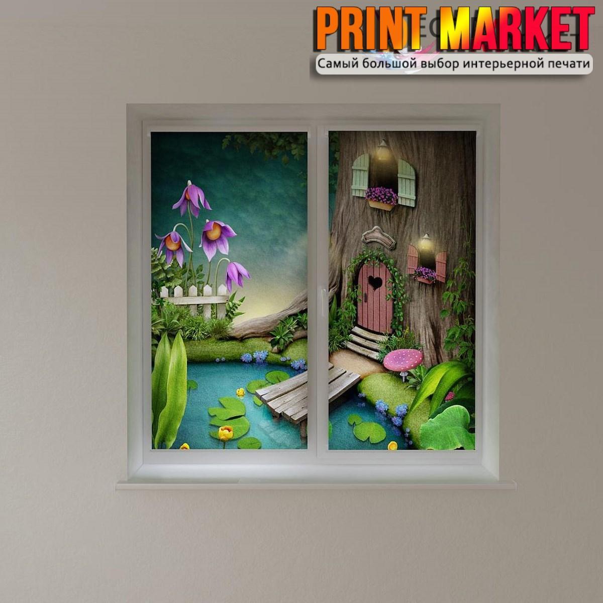 Рулонные шторы с фотопечатью домик в дереве