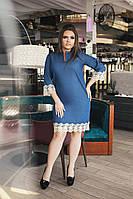 Джинсовое платье с белым кружевом (Размер 48-58)