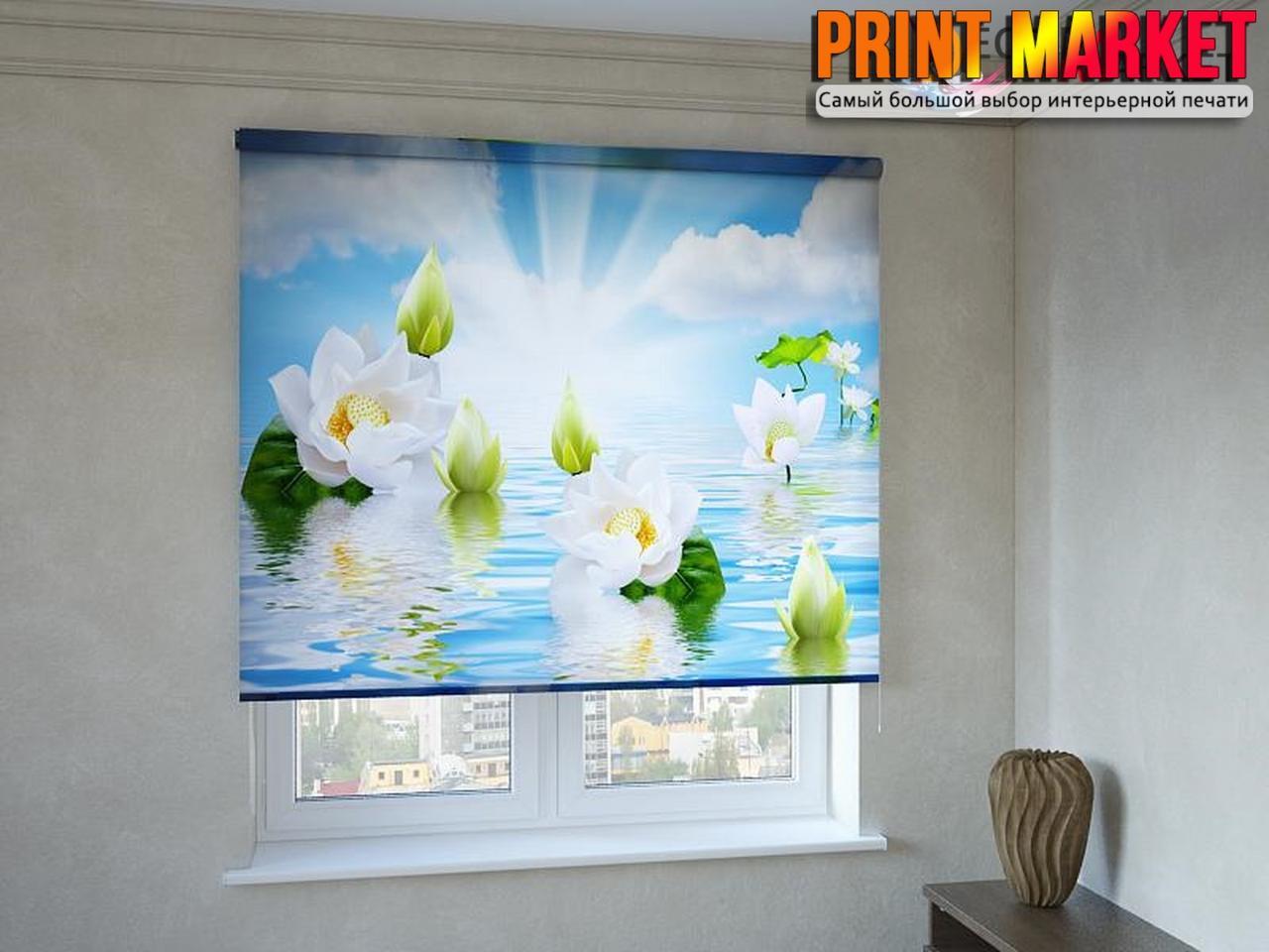 Рулонные шторы с фотопечатью цветы на воде 3d
