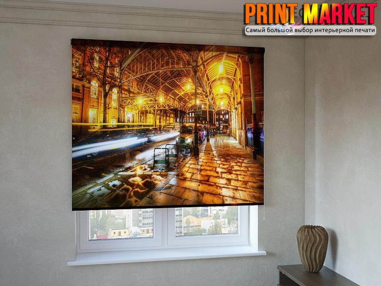 Рулонные шторы с фотопечатью вечерний город 3D