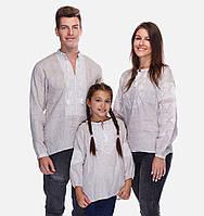 Комплект семейных вышиванок из небеленого льна (белая вышивка)
