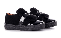 Туфли-криперы женские замшевые с опушкой черные