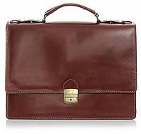 Мужской портфель из натуральной кожи, Италия коричневого цвета