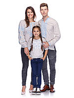 Комплект вишиванок для сім'ї з небіленого льону (блакитна вишивка), фото 1