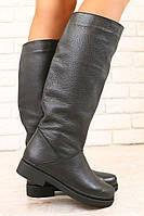 2828 Зимние женские евро-сапоги, черные, кожаные, на низком ходу  размеры: 36-40 материал: натуральная кожа, н