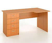 Стол письменный угловой закругленный с тумбой с 4 шухлядами, фото 1
