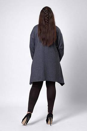 Теплый кардиган с карманами асимметричной длины, большие размеры, фото 3
