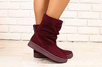 2770-1 Женские ботинки, бордовые, замшевые, на низком ходу, на байке  Размеры: 36-40 Материал: натуральная зам