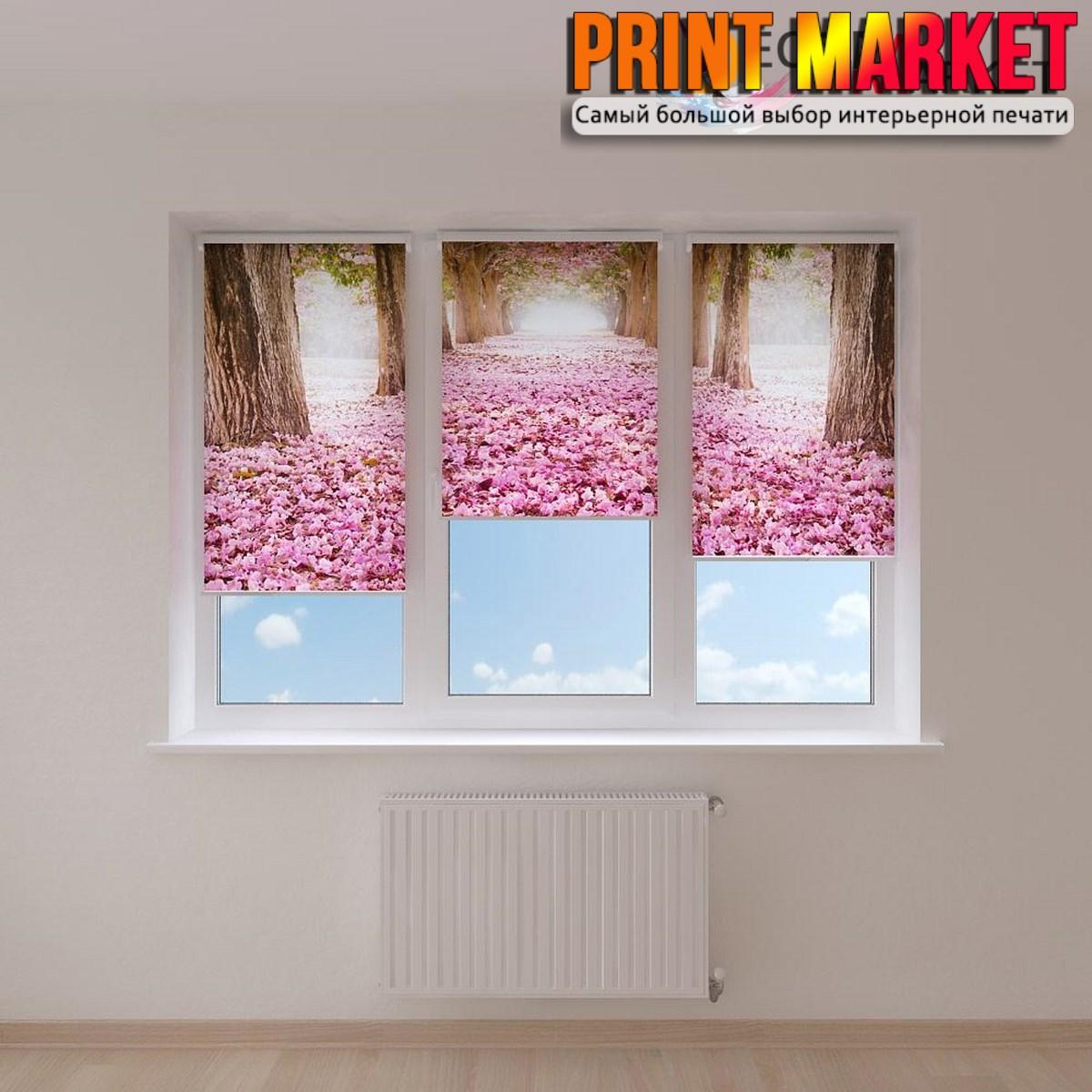 Рулонные шторы с фотопечатью цветы и деревья 3D
