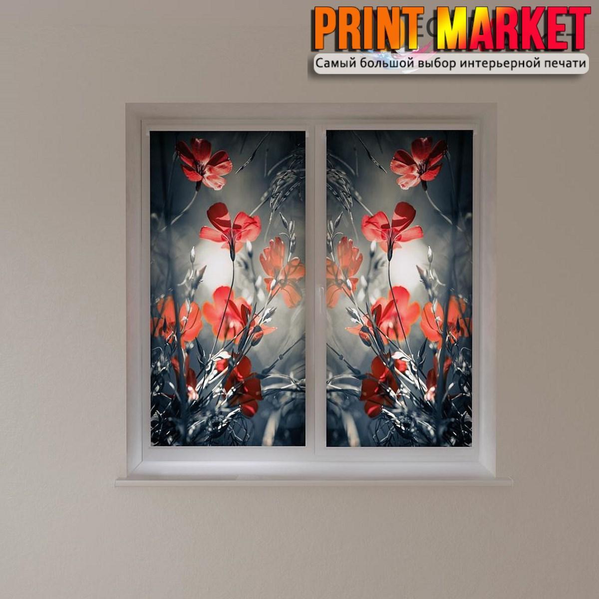 Рулонные шторы с фотопечатью ночные цветы 3d