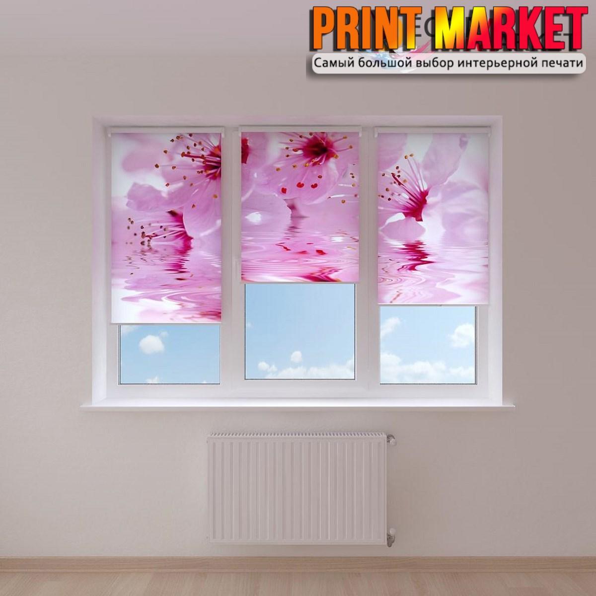Рулонные шторы с фотопечатью нежно розовые цветы
