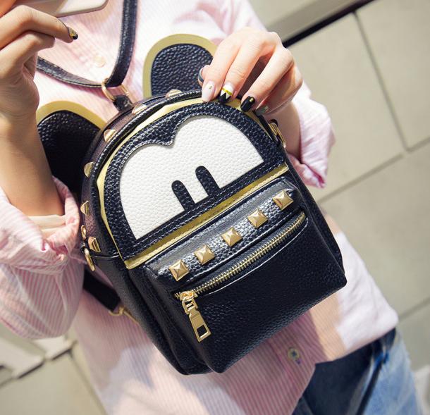 Рюкзак женский трансформер Mickey Mouse с ушками Черный